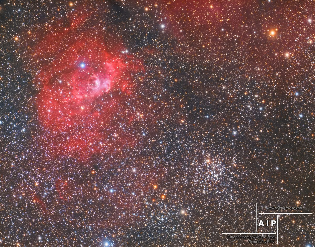 NGC7635, aupastroimaging, bubble nebula, nebulosa burbuja